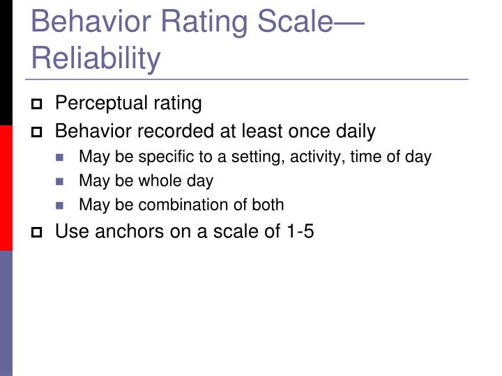 Behavior Rating Scale—Reliability