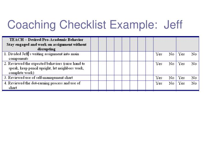 Coaching Checklist Example:  Jeff