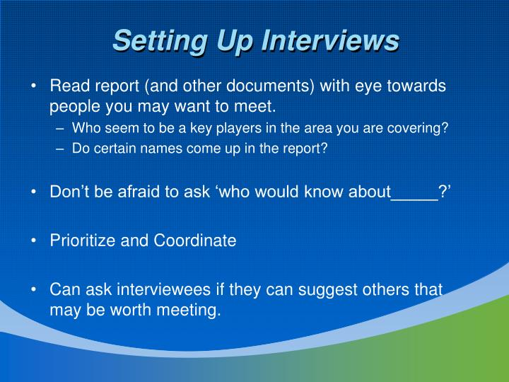 Setting Up Interviews