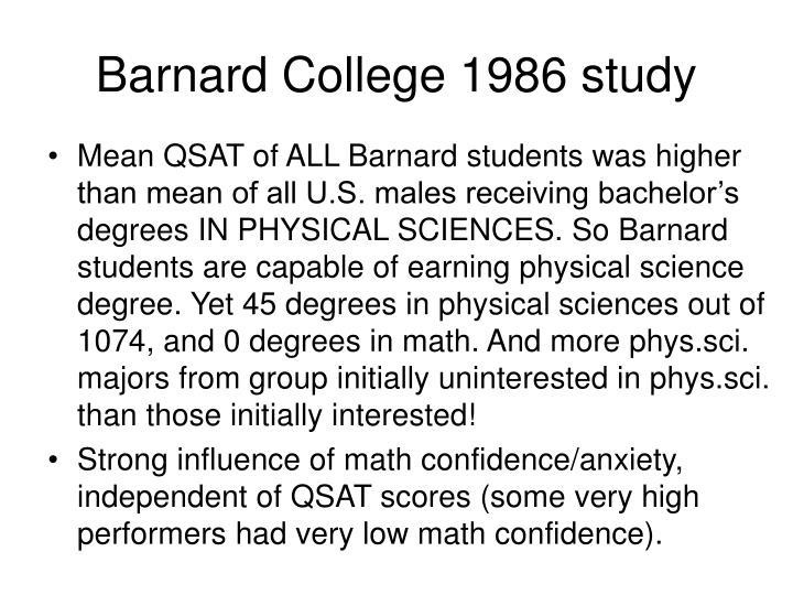 Barnard College 1986 study