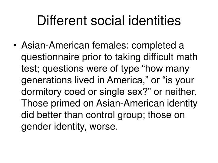 Different social identities