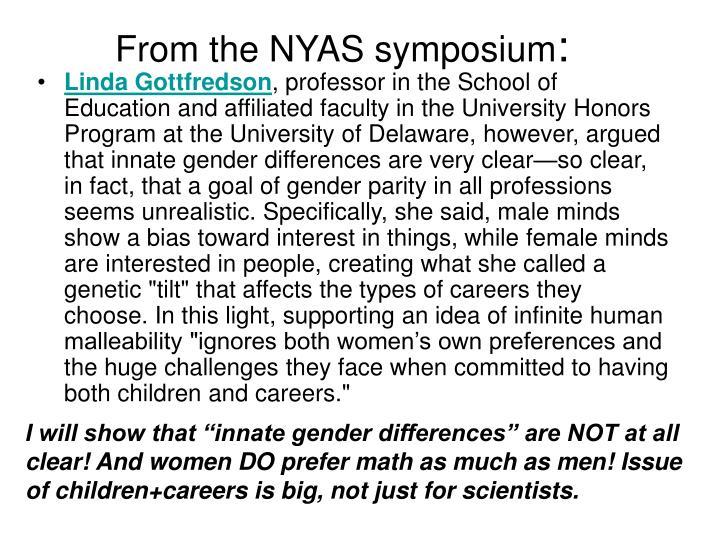 From the NYAS symposium