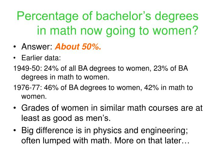 Percentage of bachelor's degrees in math now going to women?