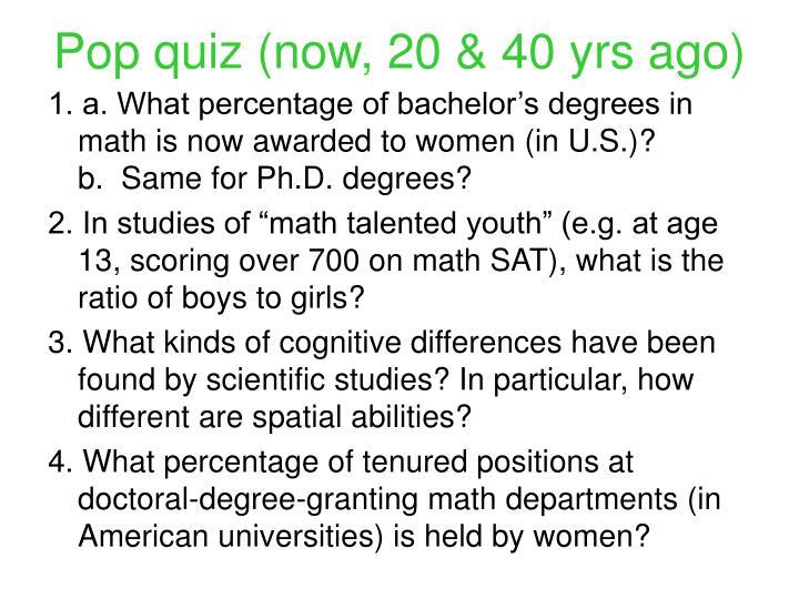 Pop quiz now 20 40 yrs ago