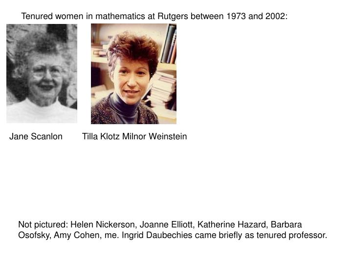 Tenured women in mathematics at Rutgers between 1973 and 2002: