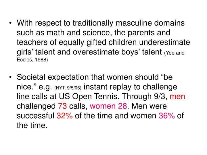 With respect to traditionally masculine domains such as math and science, the parents and teachers of equally gifted children underestimate girls' talent and overestimate boys' talent