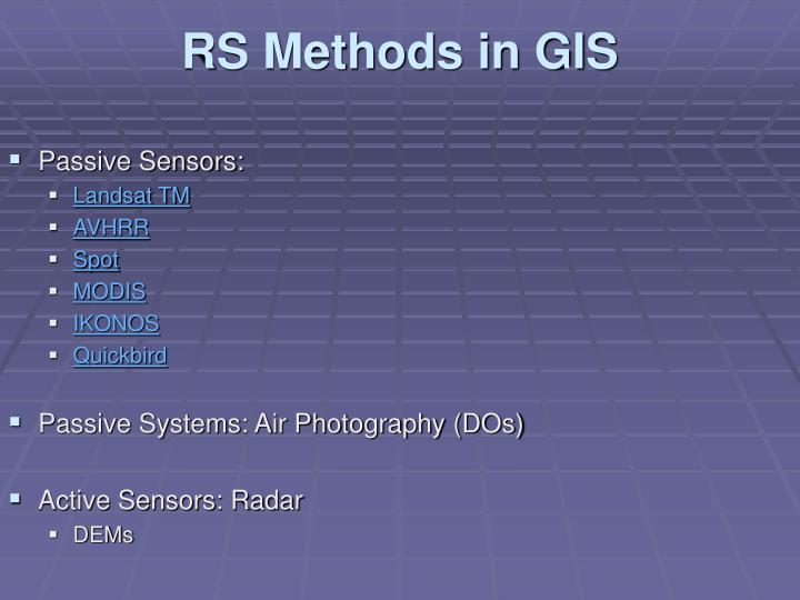 RS Methods in GIS