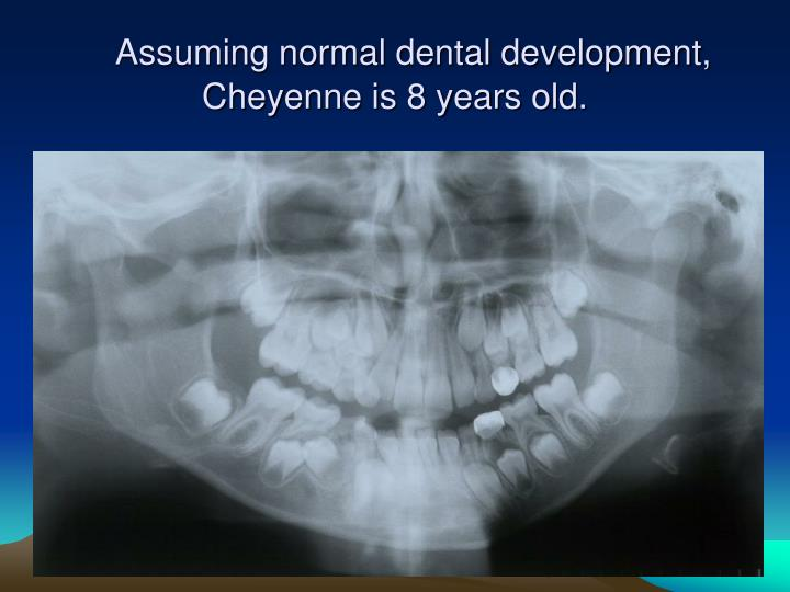 Assuming normal dental development, Cheyenne is 8 years old.