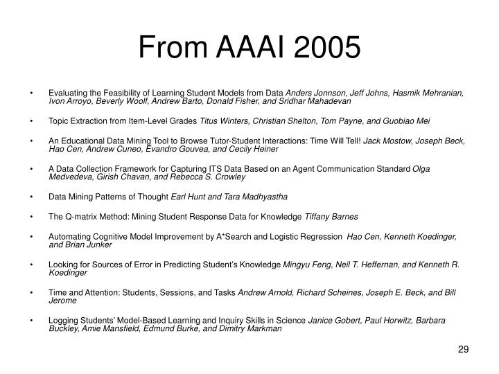 From AAAI 2005