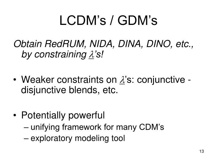 LCDM's / GDM's