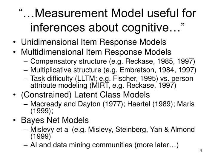 """""""…Measurement Model useful for inferences about cognitive…"""""""
