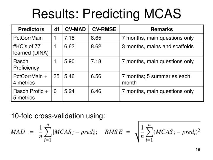 Results: Predicting MCAS
