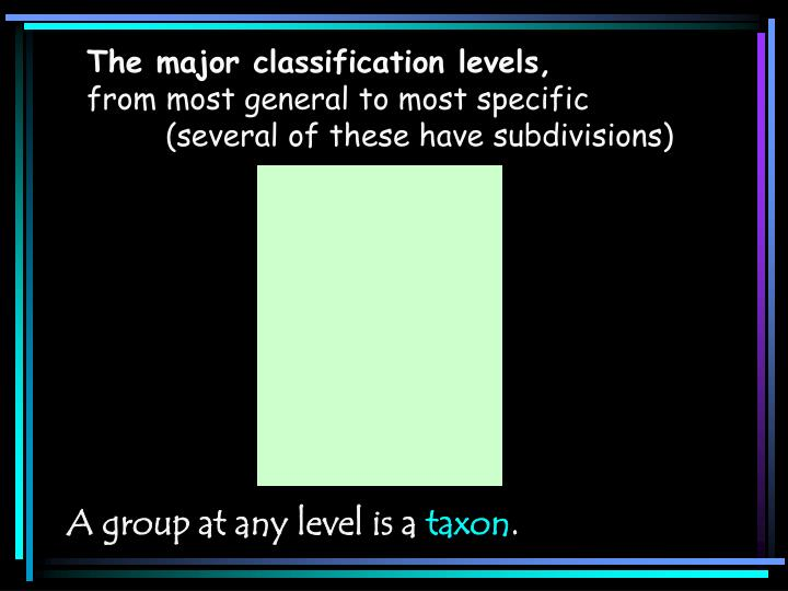 The major classification levels,