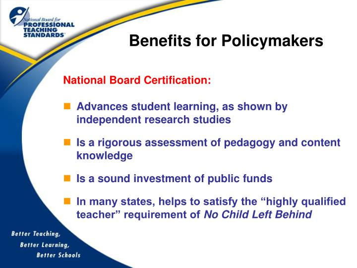 Benefits for Policymakers
