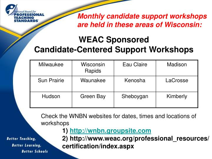 Monthly candidate support workshops are held in these areas of Wisconsin: