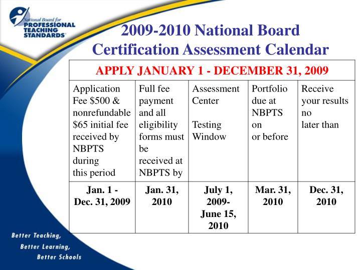 2009-2010 National Board Certification Assessment Calendar