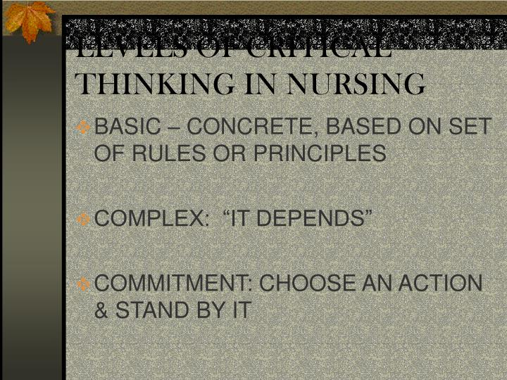 levels of critical thinking in nursing