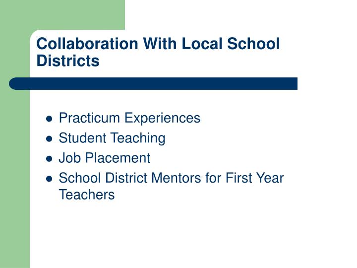 Collaboration With Local School Districts