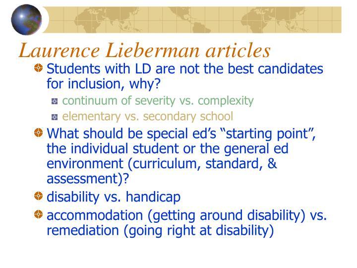 Laurence Lieberman articles