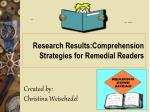research results comprehension strategies for remedial readers