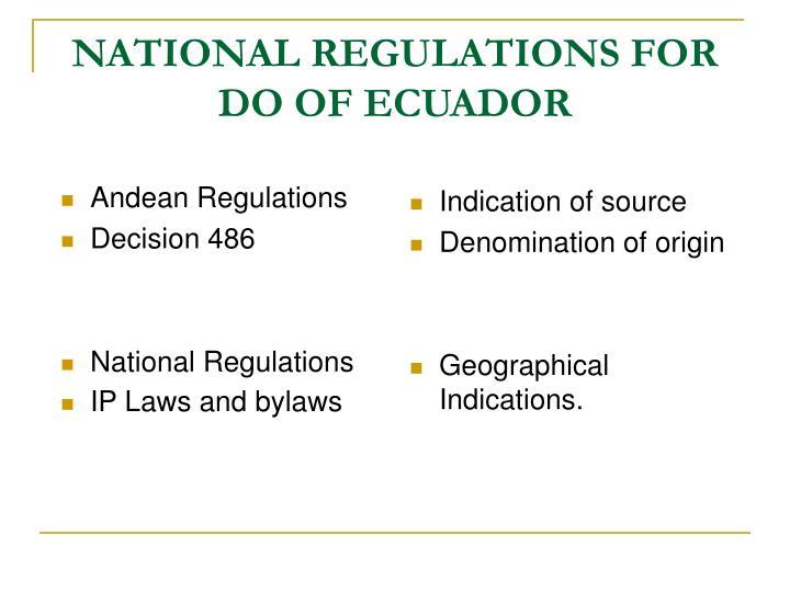 National regulations for do of ecuador