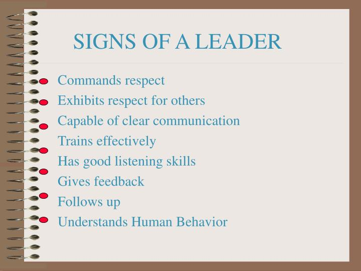 SIGNS OF A LEADER
