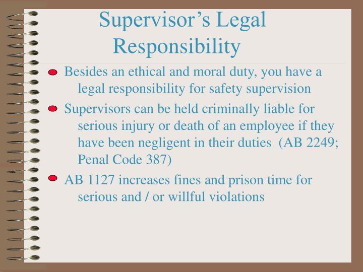 Supervisor's Legal Responsibility