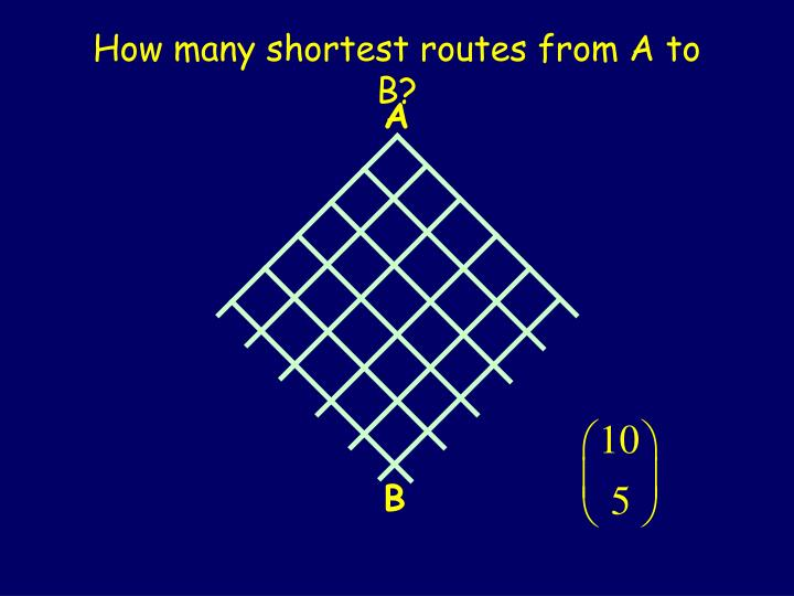 How many shortest routes from A to B?