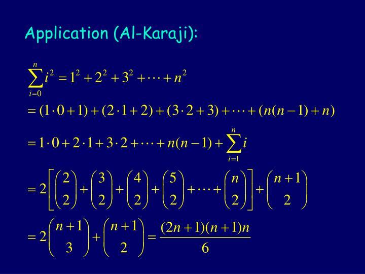 Application (Al-Karaji):