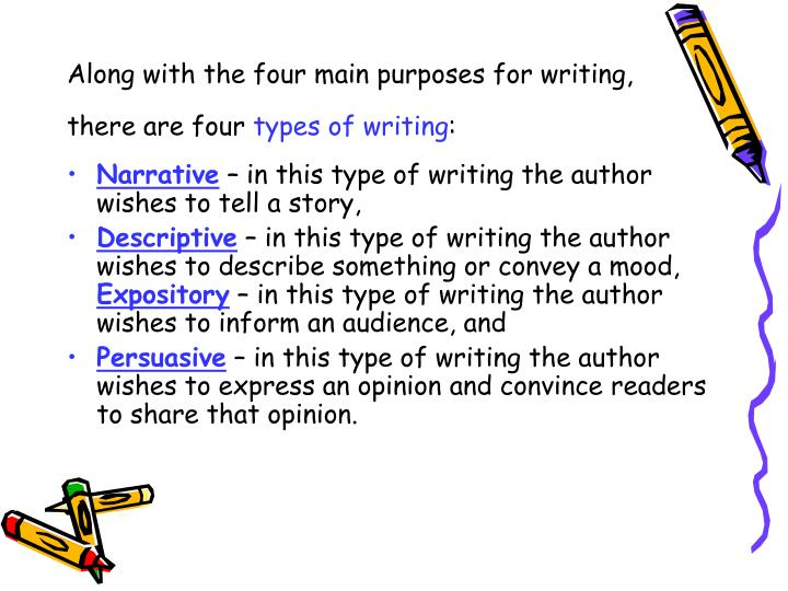 Along with the four main purposes for writing, there are four