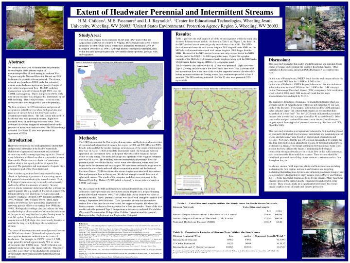 extent of headwater perennial and intermittent streams n.
