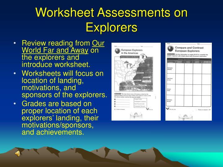 Worksheet Assessments on Explorers