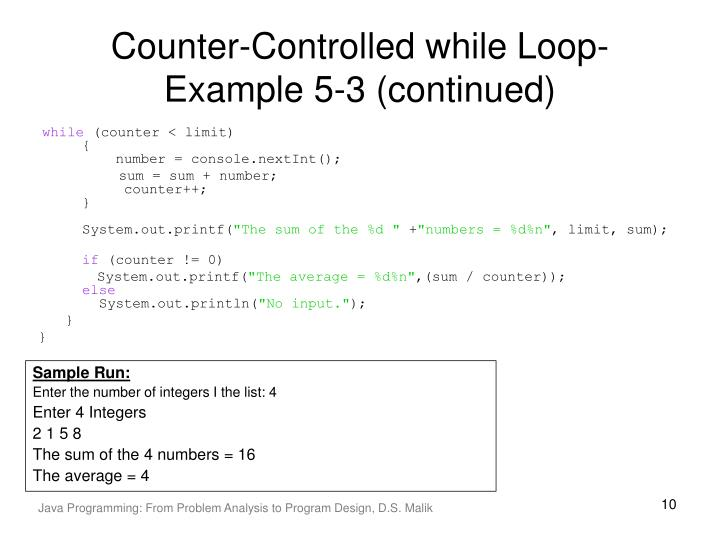 Counter-Controlled while Loop-Example 5-3 (continued)