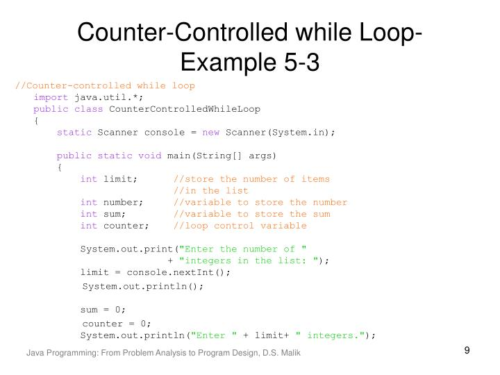Counter-Controlled while Loop-Example 5-3