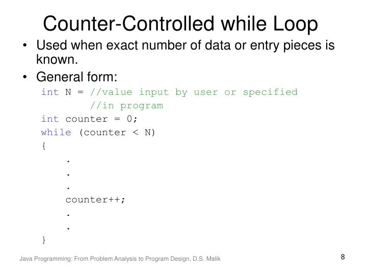 Counter-Controlled while Loop
