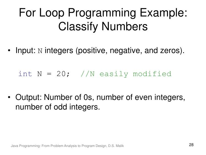For Loop Programming Example: Classify Numbers