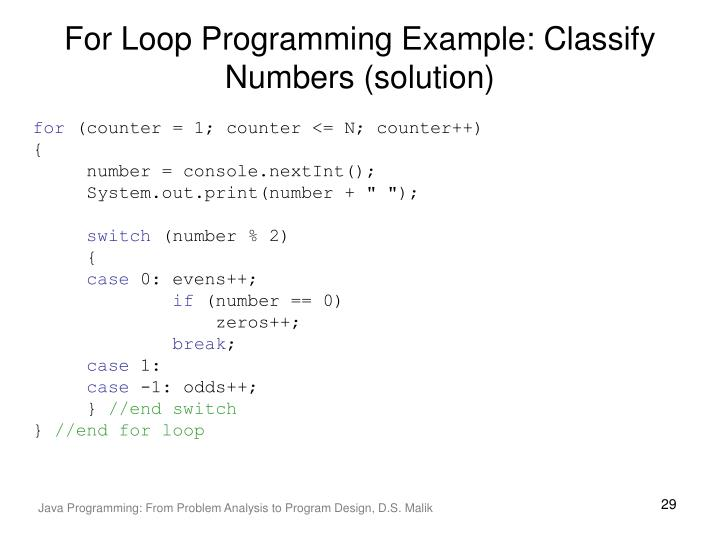 For Loop Programming Example: Classify Numbers (solution)