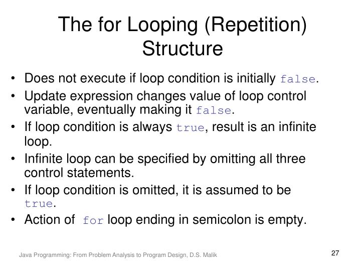 The for Looping (Repetition) Structure
