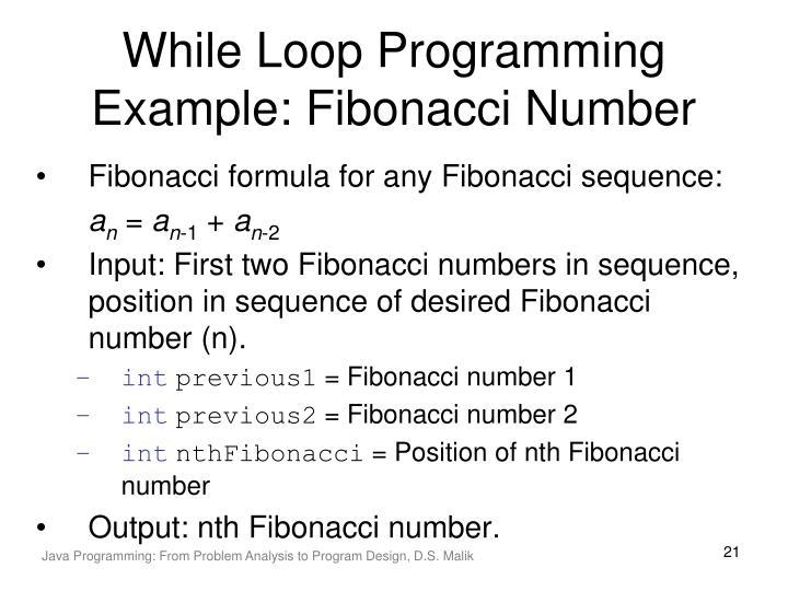While Loop Programming Example: Fibonacci Number