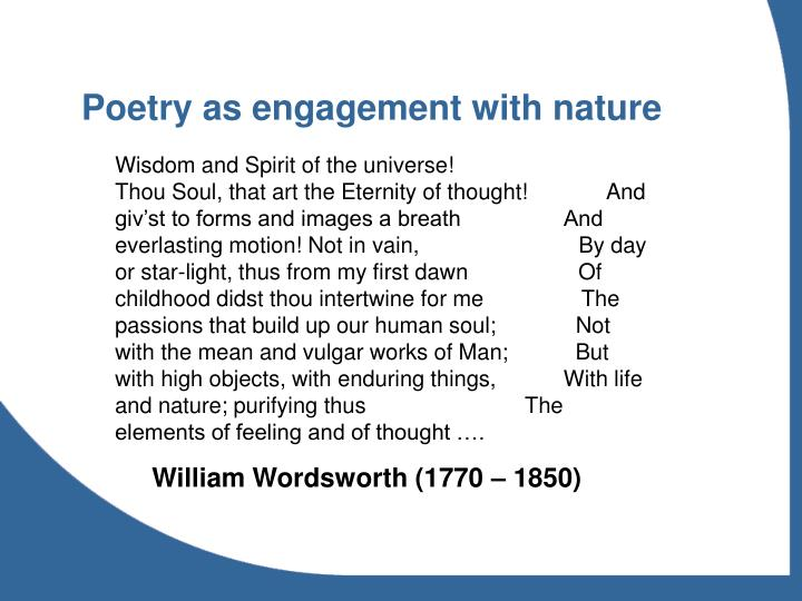 Poetry as engagement with nature