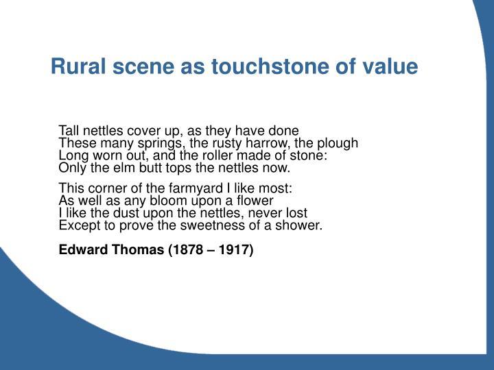 Rural scene as touchstone of value