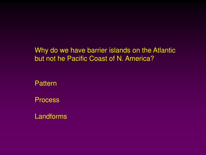 Why do we have barrier islands on the Atlantic