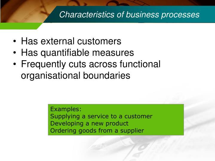 Characteristics of business processes