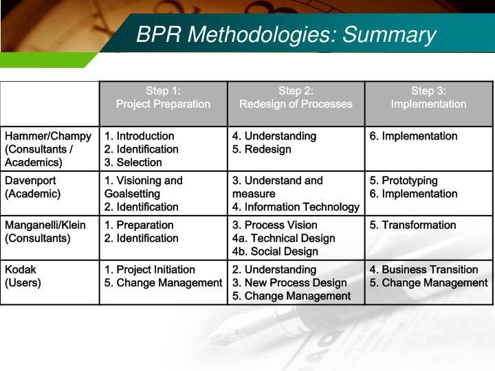 BPR Methodologies: Summary