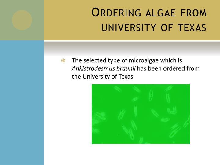 Ordering algae from university of