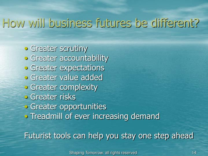 How will business futures be different?