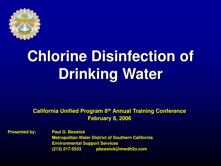 chlorine disinfection of drinking water n.