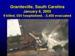 graniteville south carolina january 6 2005 9 killed 554 hospitalized 5 400 evacuated1