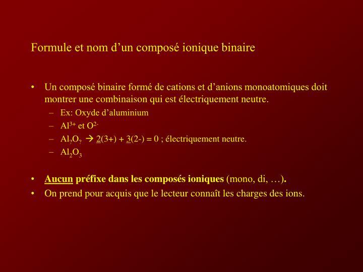 Formule et nom d'un composé ionique binaire