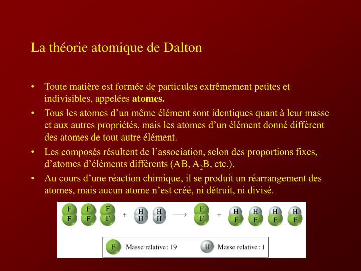 La théorie atomique de Dalton